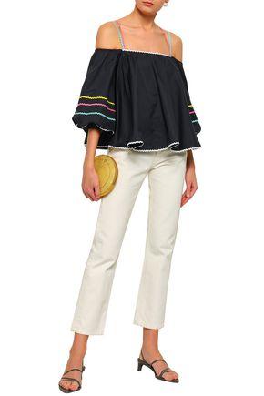b971b5a5193e ANNA OCTOBER Off-the-shoulder rick rack-trimmed cotton-poplin top