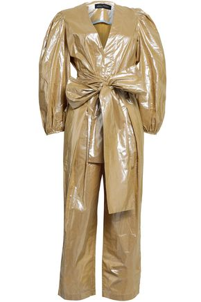ANNA OCTOBER Belted metallic-coated cotton jumpsuit
