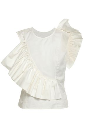 ANNA OCTOBER Ruffled cotton-poplin top