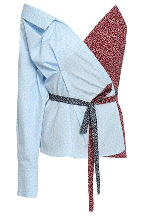 ANNA OCTOBER Cold-shoulder floral-print cotton-poplin wrap top