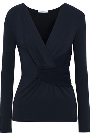 MAX MARA Apogeo wrap-effect crepe-paneled stretch-jersey top