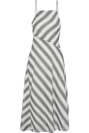 THEORY Summer Athens striped cotton and silk-blend midi dress