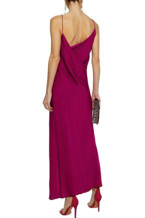 THEORY Wrap-effect draped silk-charmeuse midi slip dress