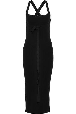 THEORY Tie-detailed ribbed-knit midi dress