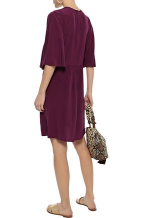 VANESSA BRUNO Iver lace-trimmed pintucked silk mini dress