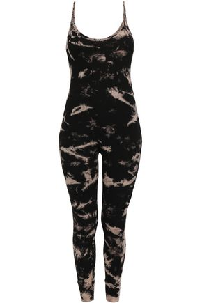 ENZA COSTA Tie-dyed ribbed stretch-jersey jumpsuit