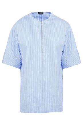 JOSEPH Briar zip-detailed pinstriped cotton-poplin top