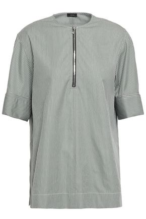 JOSEPH Briar zip-detailed pinstriped cotton-poplin top