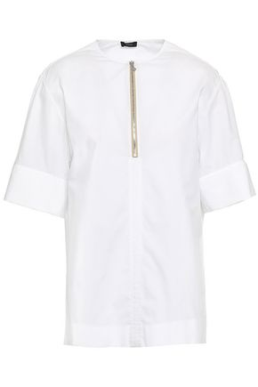 JOSEPH Briar zip-detailed cotton-poplin top