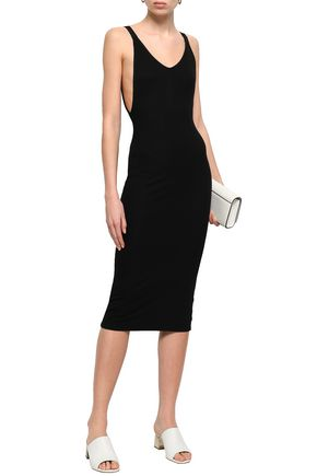 ENZA COSTA Grosgrain-trimmed ribbed stretch-jersey midi dress
