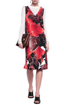 ACNE STUDIOS Wrap-effect printed crepe dress