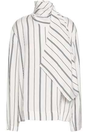 JOSEPH Draped striped twill blouse