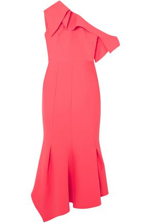 SAFIYAA Juniper one-shoulder paneled stretch-crepe midi dress