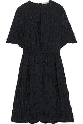 VANESSA BRUNO Scalloped embroidered silk-chiffon dress