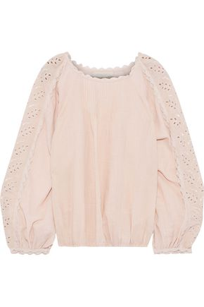 VANESSA BRUNO Innocent broderie anglaise cotton and ramie-blend blouse