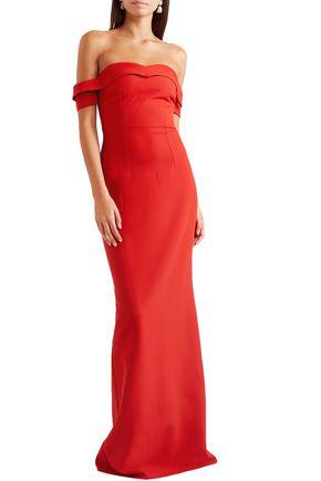 SAFIYAA Zorya off-the-shoulder crepe gown