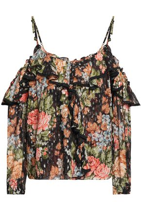 NEEDLE & THREAD Cold-shoulder floral-print fil coupé georgette top