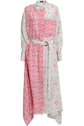 JOSEPH Draped floral-print silk crepe de chine midi shirt dress