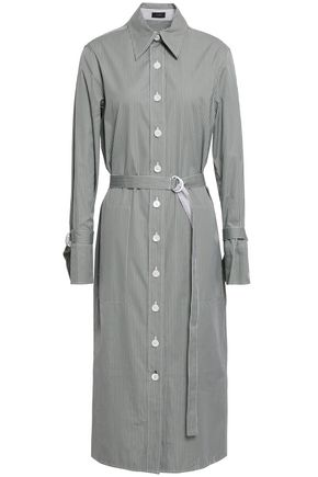 JOSEPH Locke pinstriped cotton-poplin midi shirt dress