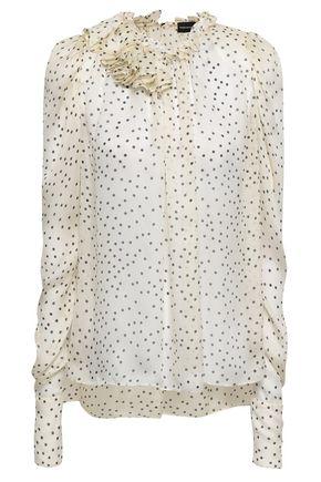 MAGDA BUTRYM Ruffled polka-dot silk-chiffon blouse