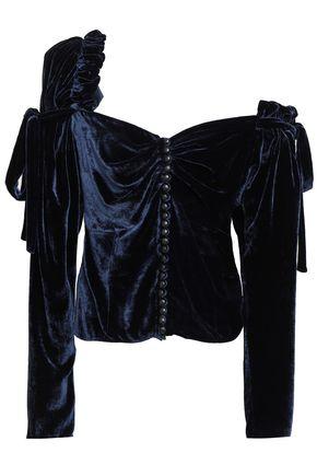 MAGDA BUTRYM Leticia one-shoulder ruffled velvet top