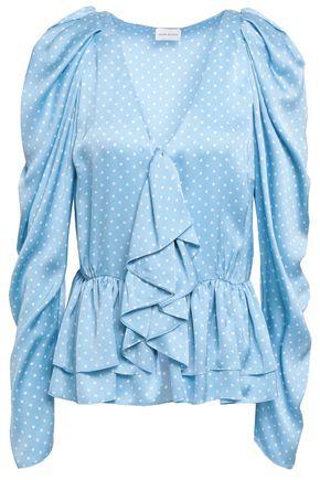MAGDA BUTRYM Ruffled polka-dot silk-satin peplum blouse