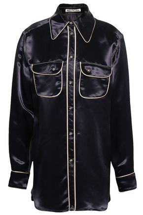 ACNE STUDIOS Crystal-embellished satin-crepe shirt