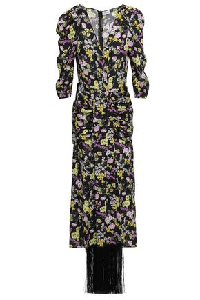MAGDA BUTRYM Ruched fringed floral-print silk crepe de chine midi dress