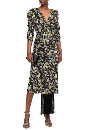 MAGDA BUTRYM Ruched fringed floral-print silk crepe de chine midi dress