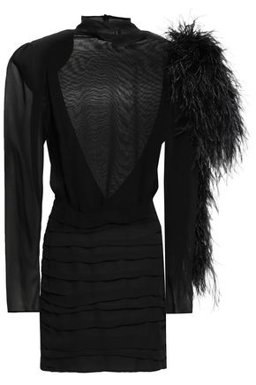 MAGDA BUTRYM Open-back feather-embellished silk-georgette mini dress