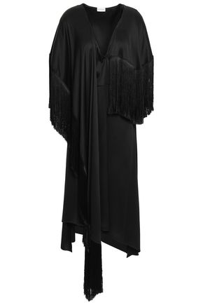 MAGDA BUTRYM Draped fringed silk-satin dress