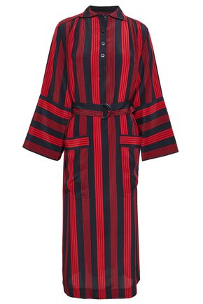 JOSEPH Chester belted striped silk crepe de chine midi dress