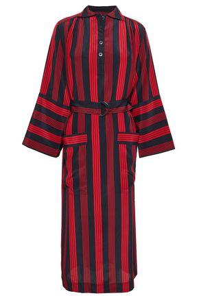 JOSEPH Chester belted striped silk crepe de chine midi dress