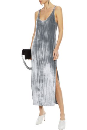 J Brand Woman Alisha Silk-Paneled Crushed-Velvet Midi Dress Silver