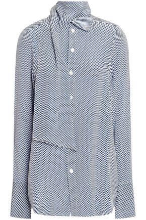 JOSEPH Linc tie-neck checked silk crepe de chine shirt