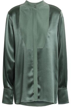 JOSEPH Crepe de chine-paneled silk-satin blouse