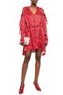 MAGDA BUTRYM Cold-shoulder floral-print satin-crepe mini dress