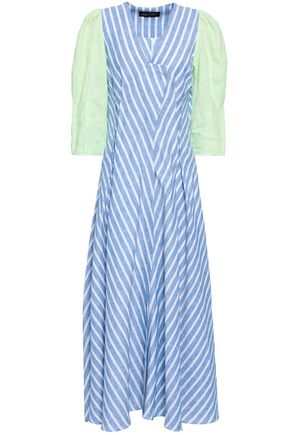 ANNA OCTOBER Pleated striped linen maxi dress