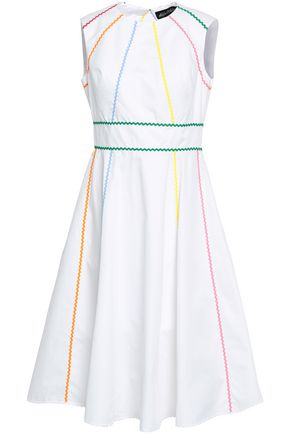 ANNA OCTOBER Open-back rickrack-trimmed cotton-poplin dress