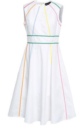 ANNA OCTOBER Open-back rickrack-trimmed cotton-poplin dress