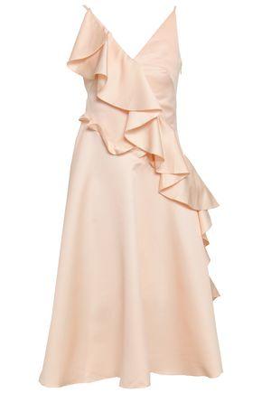 ANNA OCTOBER Flared ruffled twill dress