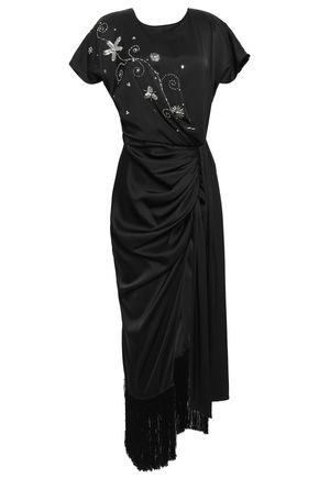 MAGDA BUTRYM Ruched embellished silk-satin gown
