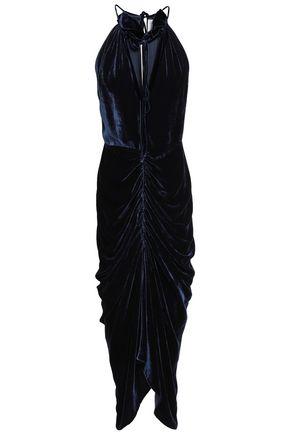 MAGDA BUTRYM Ruched velvet midi dress
