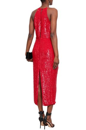 MAGDA BUTRYM Hilo ruffle-trimmed ruched sequined crepe midi dress