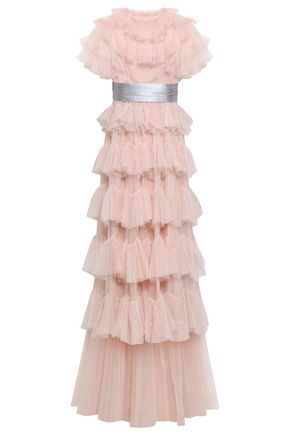 NEEDLE & THREAD Silk satin-trimmed tiered tulle gown