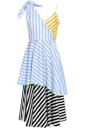ANNA OCTOBER Layered striped cotton-poplin midi dress