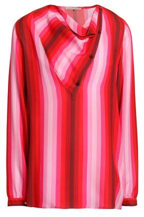 MARCO DE VINCENZO Draped striped silk blouse