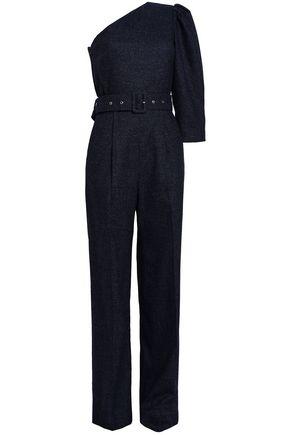 ANNA OCTOBER جمب سوت مكشوف الكتف من مزيج الصوف المجعد بطريقة بوكليه ومزوّد بحزام