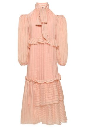 ANNA OCTOBER Cold-shoulder striped cotton-blend jacquard midi dress