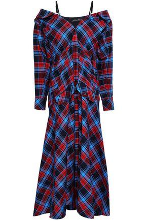 ANNA OCTOBER Cold-shoulder checked cotton-flannel midi dress